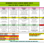 SDC Cold Summer Lunch Menu